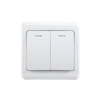 Выключатель двухклавишный 10А с индикатором ВЕГА (белый) IEK