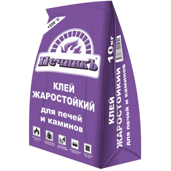 Клей для облиц. печей и каминов ПечникЪ (+250 С), 10 кг