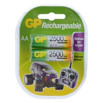 Аккумуляторы перезаряжаемые GP 250AAHC AA, емкость 2450 мАч - 2 шт. в клемшеле