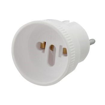 Переходник электрический белый (розетка б/з - SHUKO) 6А 250В