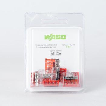 Клемма соединительная WAGO 2273-244 4-х проводная (0,5-2,5мм²) 24А с пастой, 6 шт. в блистере