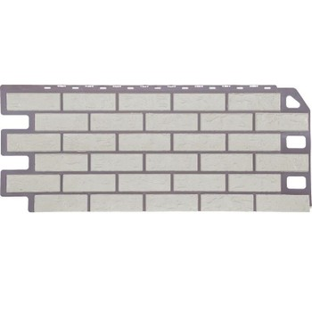 Панель 1,135х0,47м Файн Бир (цокольный сайдинг), кирпич мелованный белый