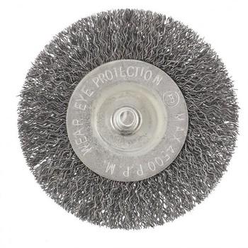 Щетка для дрели, 75 мм, плоская со шпилькой, витая проволока Сибртех (744487)