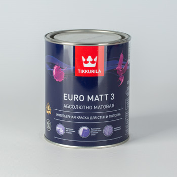 Краска Тиккурила Euro Matt 3 для гостиных и спален, мат., 0,9л