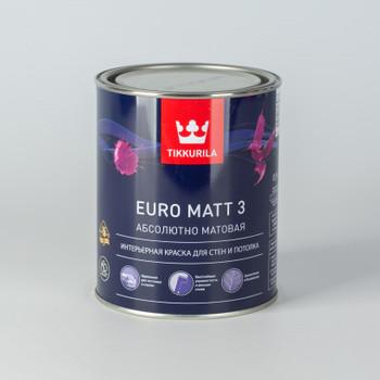 Краска для гостиных и спален Tikkurila Euro Matt 3, глубокоматовая, 0,9л