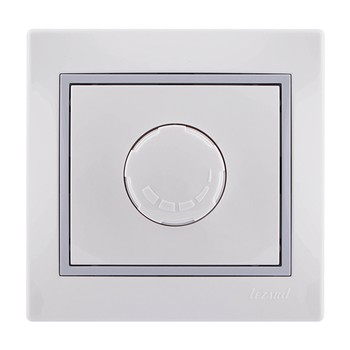 Светорегулятор одноместный белый с серой вставкой 800Вт МИРА LEZARD