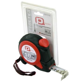 Рулетка 10мх25мм обрезиненная с фиксацией (магнитный крючок), PQTools