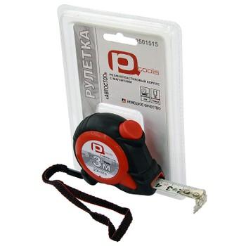 Рулетка 3мх16мм обрезиненная с фиксацией (магнитный крючок), PQTools