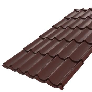 Металлочерепица Монтеррей 1,10х1,18 (ПЭ-01-8017-0,5) шоколад