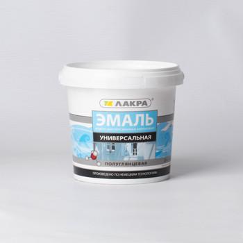 Эмаль акрил. универсальная белая п/гл 0,9кг, Лакра