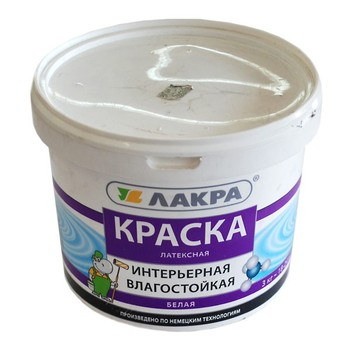 Краска ЛАКРА интерьерная латексная влагост. (бел.мат), 3кг