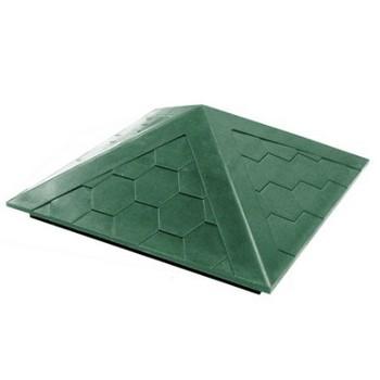 Колпак ППК на столб 390х390х43 Зеленый Гибкая черепица