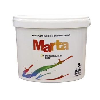 Краска Марта д/кухонь и ванных комнат белая акриловая, 9л