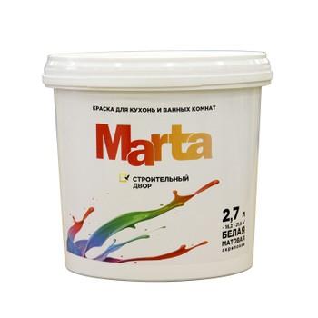 Краска Марта д/кухонь и ванных комнат белая акриловая, 2,7л