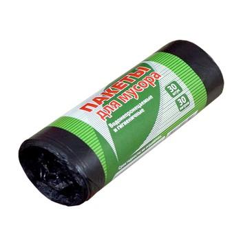Пакеты для мусора 30л (48×58, 10мкм, 30шт/рул), черные