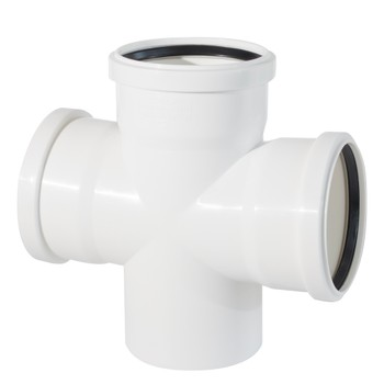 Крестовина канализационная 110х110х110х87,5гр бесшумная Дигор ЛЮКС белая