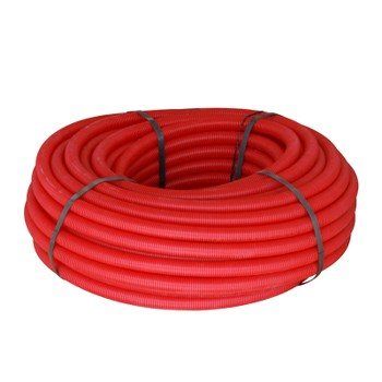 Цветная гофрированная трубка (красная) для 20 (по наружнему 32) бухта 50м.