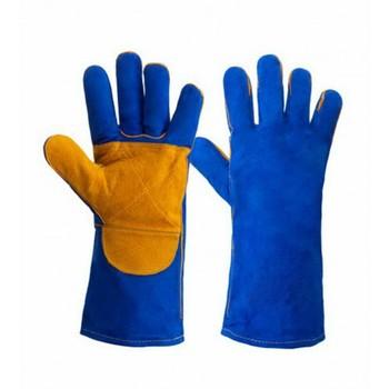 Краги спилковые пятипалые усиленные с подкладом, синие