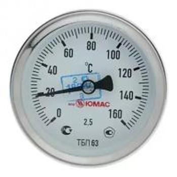 """Термометр биметаллический аксиальный 0-160°С, d=63мм, L=40мм, G1/2"""", ТБ-063-1, МЕТЕР"""
