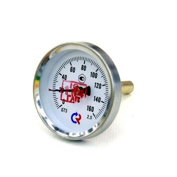 """Термометр биметаллический аксиальный 0-160°С, D=63ММ, L=46ММ, G1/2"""", КТ2.5, БТ 31.211, РОСМА"""