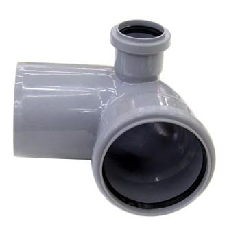 Колено канализационное с отводом левым 110х50 87гр