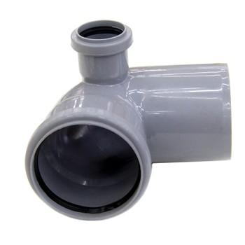 Колено канализационное с отводом правым 110х50 87гр