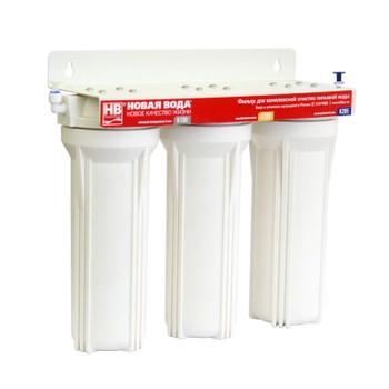 Фильтр проточный 3х ступенчатый фильтр Е300 (3 колбы, поршн. кран) НОВАЯ ВОДА