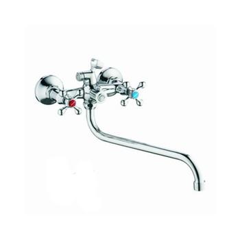 Смеситель д/ванны Accoona 78 A7178 (с 2-я рукоятками, держ для лейки) +длин.излив A7130S хром