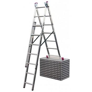 Лестница алюминиевая 3х8 (раб. высота 5,4м) с функцией лестничных пролетов, CORDA