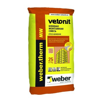 Клеевая смесь для минваты Weber.Vetonit therm MW, 25кг