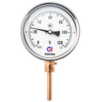 """Термометр биметаллический радиальный 0-160°С, d=63мм, L=64мм, G1/2"""", КТ2.5, БТ 32.211, РОСМА"""