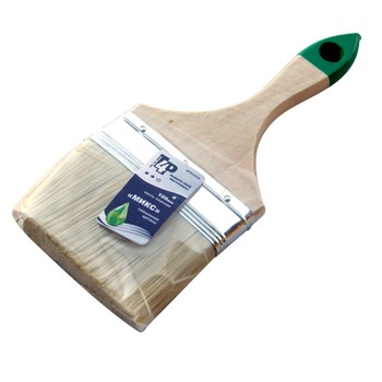 Кисть плоская #4 (100мм) смешан. щетина, дерев. ручка, Микс, Т4Р