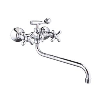 Смеситель д/ванны и душа Accoona 72 A7372 (с 2-я рукоятками, держ для лейки) +длин.излив А7135S хром.