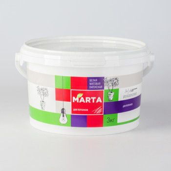 ЭКО Краска MARTA для потолков, белая, 3кг
