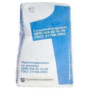 Цемент ЦЕМ II/А-Ш 32,5Б, Сухой Лог, 50кг (паллета 1,75т)