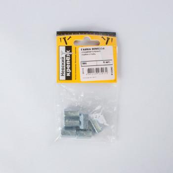 Гайка соединительная оцинкованная DIN 6334 М6 6 штук в упаковке (пакет)
