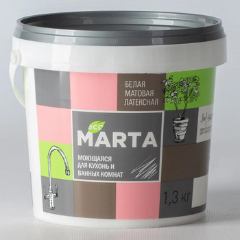 ЭКО Краска MARTA для кухонь и ванных комнат, белая, 1,3кг