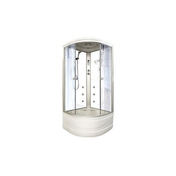 Кабина душевая COMFORTY Р-018 900*900*2200мм (белая стеклянная задняя панель)