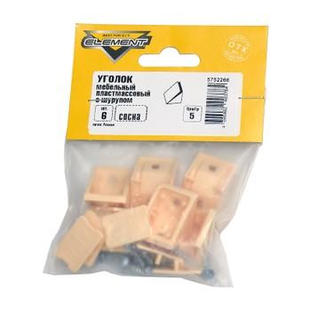 Уголки мебельные пластиковые сосна с шурупом (6 шт) Element