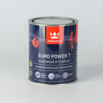 Краска Тиккурила Euro Power 7 моющаяся для стен и потолков, мат., 0,9л