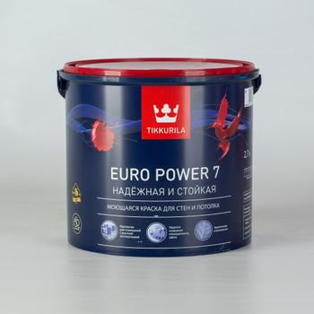 Краска Euro Power 7 моющ. д/стен и потолков, мат. /база С/ 2,7л, Тиккурила