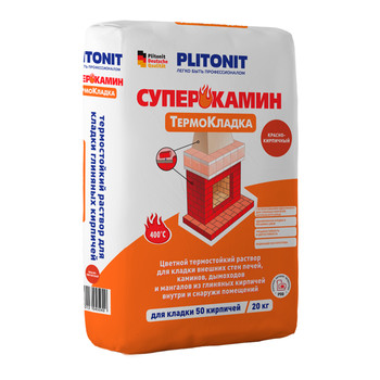 Кладочный состав Плитонит СуперКамин ТермоКладка красный, 20кг
