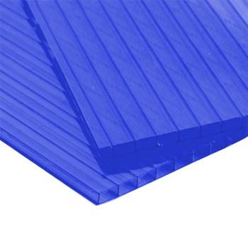 Сотовый поликарбонат синий 4мм 2,1х6м плот. 0,4 кг/м2