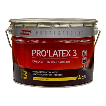 Краска PRO'LATEX 3 белая мат., 9л
