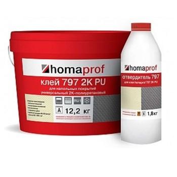 Клей Homakoll PU 2К для внутренних и наружних работ (797, 14 кг (12,174кг+1,826кг), 800-1000 гр/м2, шпатель В3, срок хранения 12 ме