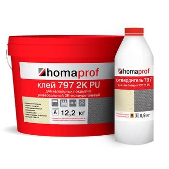 Клей Homakoll для внутренних и наружних работ (797, морозостойкий, 800- 1000 гр/м2, шпатель В3,14 кг (12,174кг+1,826кг))