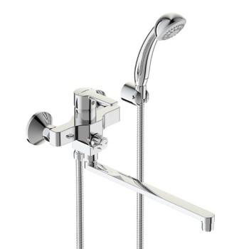 Смеситель для ванны/душа ВидимаУно, керамический переключатель, установка на стену, прямоугольный поворотный излив 320мм, лейка 70