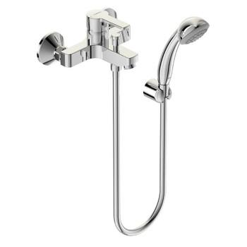 Смеситель для ванны/душа ВидимаУно, установка на стену, литой излив 95мм, лейка 70мм, держатель, шланг 1500мм, хром