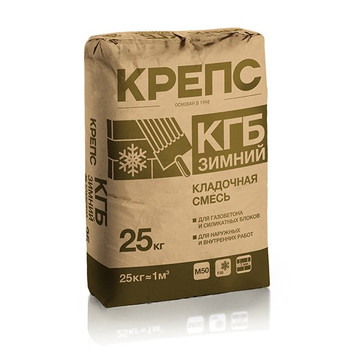 Кладочная смесь Крепс КГБ для блоков из ячеистого бетона (-10 С), 25 кг