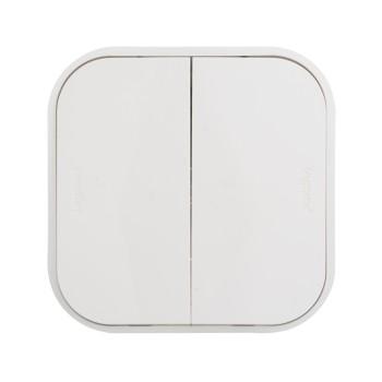 Выключатель двухклавишный наружный белый 10А Quteo Legrand